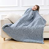Handgewebte Grobstrick-Decke von HLHN aus weicher, flauschiger, dicker Wolle, Überwurf, grau, 120 x 150 cm