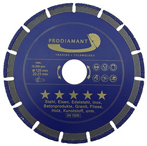 PRODIAMANT Profi Diamant-Trennscheibe Universal TITANIT 125 mm x 22,2 mm Diamanttrennscheibe 125mm - Der Allesschneider für Winkelschleifer