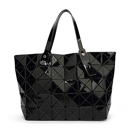 YUEER Dame Geometrie Falten Handtasche Lingge Aktentasche Große Kapazität Handtasche,Black-43 * 11 * 28cm - Print Große Shopper-handtasche