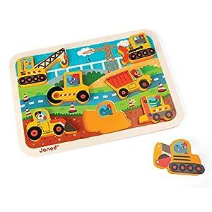 Janod - Chunky Puzzle de madera, Construccion (J07077)
