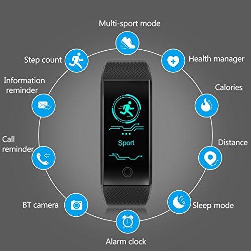 El Mejor Pulsera de Actividad Inteligente GLAMSVILL Pulsera Actividad Reloj Inteligente Con Monitor de Presión Arterial y Frecuencia Cardíaca Contador de Calorías Podómetro Monitor de Sueño con Sistema de Notificaciones Para Dispositivos Android y Ios de Color Negro