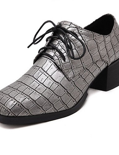 ZQ Scarpe Donna - Stringate - Casual - Punta arrotondata - Quadrato - Finta pelle - Nero / Grigio , gray-us8 / eu39 / uk6 / cn39 , gray-us8 / eu39 / uk6 / cn39 black-us7.5 / eu38 / uk5.5 / cn38