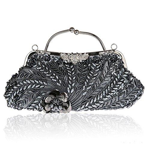 Nuova borsa borsa sacchetto del vestito bag borsa banchetto diamante cheongsam sera della mano borsa borsa sposa moda di perline ( Colore : Silver ) Grigio