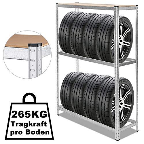 Wolketon Reifenregal für 8 Reifen, 180x120x40cm Höhenverstellbar, obere Ablage MDF, Stabiles Werkstattregal mit Verzinktem Stahl Wand