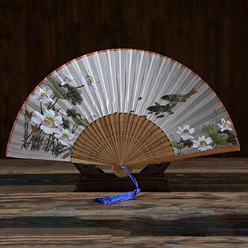 Kostüm Fisch Muster - XIAOHAIZI HandfächerFächerFoldingFans Chinesischen Stil Damen Klassische Faltfächer, Pflanze Lotus Fisch Muster, Bambus Geschenk Fan, Faltfächer Für Hauptdekoration