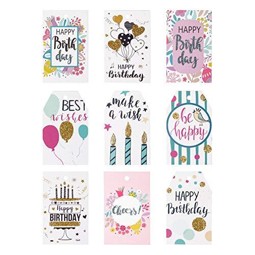 �nger Mit String - 54Pcs Glitter Birthday Paper Tags Mit Kerzen Zum Feiern, Party Favors, Baby Shower ()