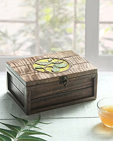 Store Indya Hand Carved Wooden Tea Coffee Bag Holder with 6 Compartments Storage Organiser Box Rectangular Shaped with Leaf Design Brown Colour Kitchen Dinning