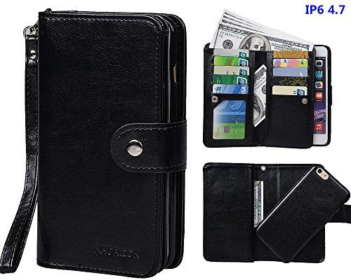 """xhorizon MLK [upgrade] 2-en-1 design Support de voiture remarquable pour téléphone portable à deux volets Folio Portefeuille en cuir pour iPhone 6/ iPhone 6S [4.7""""] (noir) noir"""