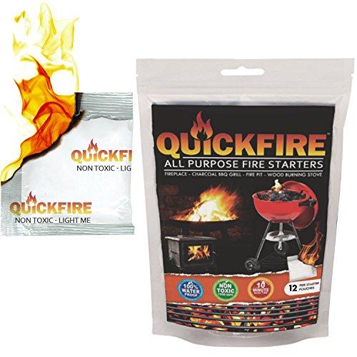 Quickfire - Firestarters habe # 1 Camping & Holzkohle BBQ Fire Starter. Brenndauer bis zu 10 min bei über 750 ° - 100% wasserdicht, geruchlos und ungiftig - 12 Pouches