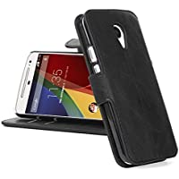 Moto G2 Lederhülle | JAMMYLIZARD Handyhülle [ Retro Series ] Ledertasche Flip Case Cover Hülle Leder Schutzhülle mit Kartenfach für Motorola Moto G (2. Generation), Schwarz