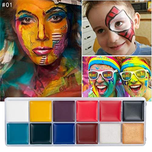 Dkings Professionelle Körper Gesicht Farbe, 12 Farbe Pigment Ölgemälde Kunst, Verwendung in Halloween Party Fancy Kleid Schönheit Make-up-Tool (Körper Kunst Kostüm)