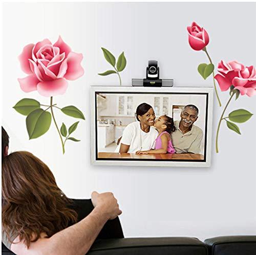 Romantische Rosa Rose Blume Grünes Blatt Wandaufkleber Hause Schlafzimmer Wohnzimmer Liebe Dekoration Garten Aufkleber Abnehmbare Tapete 50 * 58 cm -