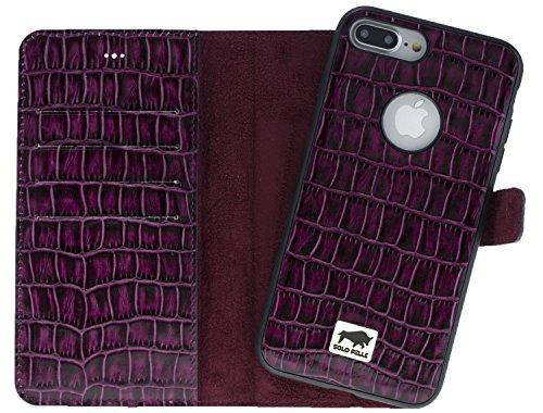 Solo Pelle iPhone 7 Plus / 8 Plus abnehmbare Lederhülle (2in1) inkl. Kartenfächer für das original iPhone 7 Plus / 8 Plus ( Vintage Lila ) inkl. Edler Geschenkverpackung Kroko-Lila