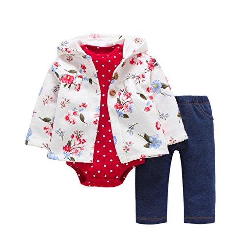 OVERDOSE 3PCS Neugeborenes Baby Mädchen Jungen Fox Print Cartoon Druck Hoodie Jacke Mantel + Hosen + Strampler Weihnachten Outfits Set(18 Monate,Weiß) (Santa Und Blauen Weißen Hüte)