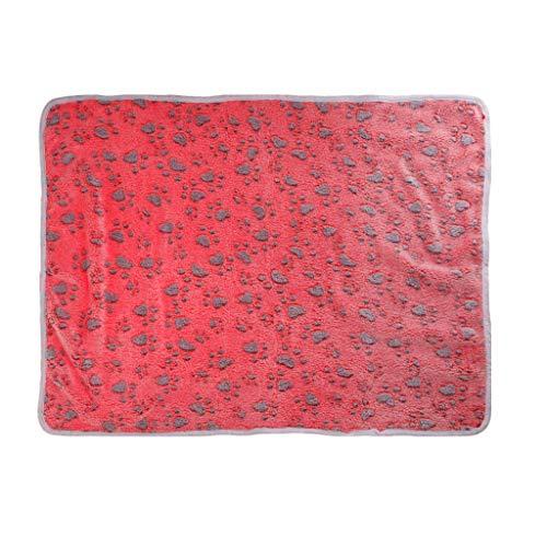 qingqingR Winter Warme und komfortable Haustier Katze Hund Korallen Samt Paw Print Decke Nette Rest Quilt M 1Pc -