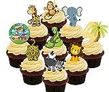 Decoraciones de obleas comestibles de animales para tartas para cumpleaños de 4 años, Pack of 36