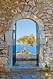 Wallario Garten-Poster Outdoor-Poster - Torbogen Toskana in Premiumqualität, Größe: 61 x 91,5 cm, für den Außeneinsatz geeignet