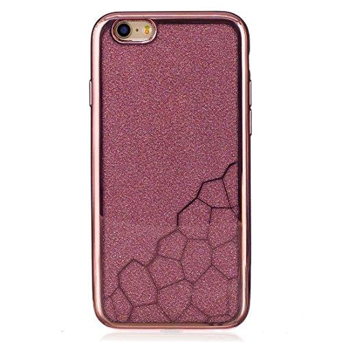 Pour iPhone 6 / 6s, boîtier de protection arrière protecteur TPU de petits cubes de galvanoplastie JING ( Color : Silver ) Rose gold