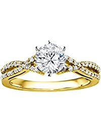 Silvernshine 1.17 Carat White CZ Diamond 10k White Gold Over Bride Wedding Engagement Ring