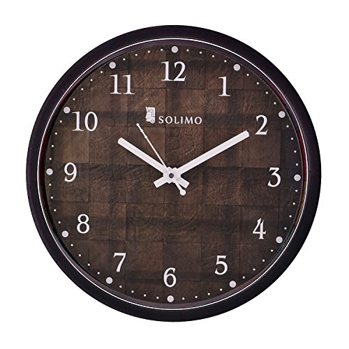 Solimo 12-inch Wall Clock - Checkered (Silent Movement, Black Frame)