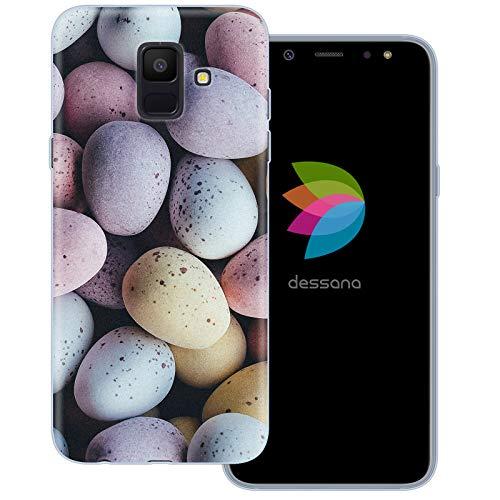 dessana Candy Süßigkeiten Transparente Schutzhülle Handy Case Cover Tasche für Samsung Galaxy A6 (2018) Oster Eier