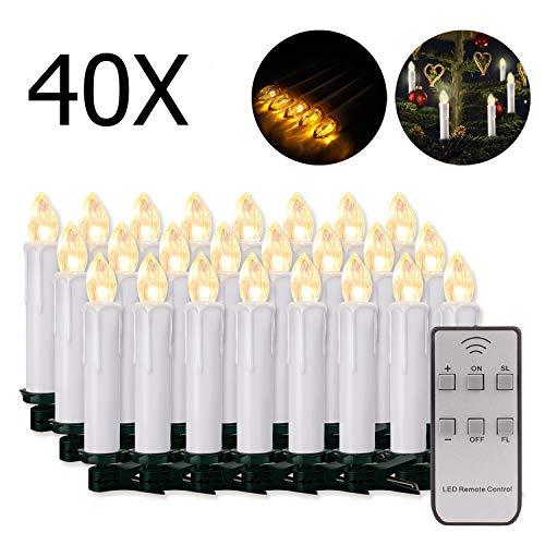 20/30/40/50/60 stk LED Kerzen LED Lichterkette Kabellos Dimmbar Kerzenlichter Flammenlose Weihnachtskerzen für Weihnachtsbaum, Weihnachtsdeko, Hochzeit, Geburtstags, Party (weisse Hülle, 40stk)
