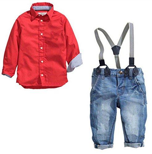 Fanryn 2-teiliges Babyanzug Babykleidungs-Set Jungen Hemd Rot und Latzhose Jeans Mode Kleidung (Für Kostüme Männer Klebeband)