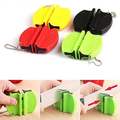 LaDicha Portable Outdoor Mini Messerschärfer Werkzeuge Schleifstein Schere Für Messer Küchenzubehör - Gelb