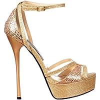 Onorevoli Onlineshoe frizzante Gold Glitter cinghietti peep toe tacco a spillo - Cross Over Toe - Gold Glitter