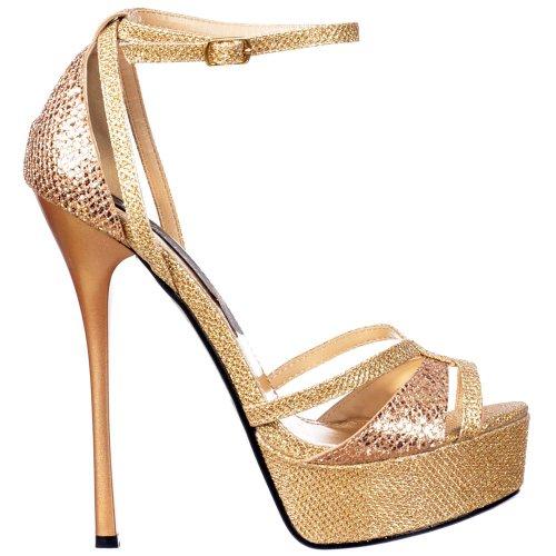 Onorevoli Onlineshoe frizzante Gold Glitter cinghietti peep