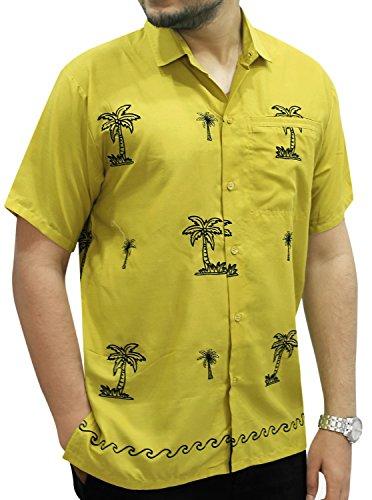 La Leela Viskose Kunstseide Schwarz Palme Grün schwimmen Lager Taste nach unten Hemd Männer XXL (Grüne Shirt Unten Taste Nach)