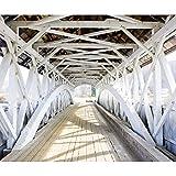 decomonkey Fototapete Brücke Holzbrücke 400x280 cm XXL Design Tapete Fototapeten Vlies Tapeten Vliestapete Wandtapete moderne Wand Schlafzimmer Wohnzimmer FOB0069a84XL
