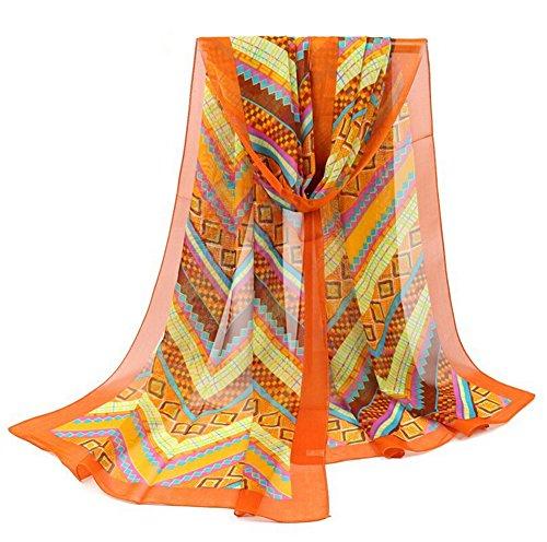 Leisial Mujer Pañuelos Gasa de Larga Bufanda Nacional Retro del Viento del Abrigo del Mantón de Bufandas Suave Gasa de Chal Seda Verano para Señora,Naranja 160*50cm