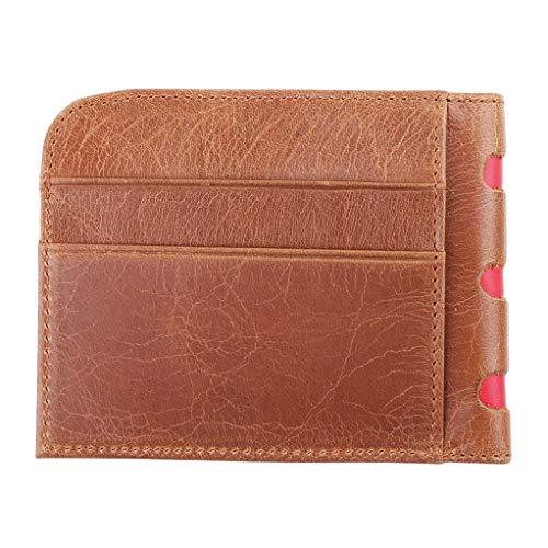 SEVENHOPE Vintage Wallet Visitenkartenetui Schlanke Leder Multi Card Packtasche (Braun)