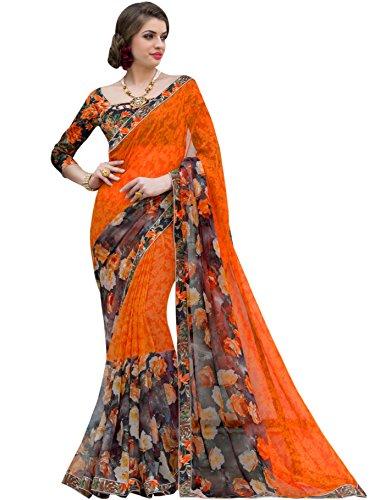 Sarees (Vastrang Sarees Women\'s Orange Color Beautiful Printed Pure Georgette Designer Party wear printed Saree with Art Silk Print Lace Border & same Border Matching Printed Art Silk Blouse_VS515131