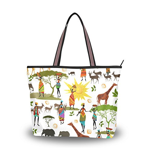 Ahomy Schultertasche Afrika Kunst Elefant Giraffe Handtasche für Outdoor Gym Wandern Picknick Reise Strand, Mehrfarbig - multi - Größe: Medium (Hobo Giraffe)