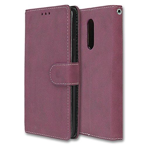 Chreey Lenovo K6 Note Hülle, Matt Leder Tasche Retro Handyhülle Magnet Flip Case mit Kartenfach Geldbörse Schutzhülle Etui [Rose Rot]