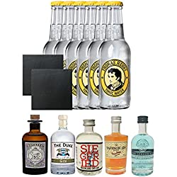Gin Probierset Monkey, Duke,Siegfried, Saffron, London Blue + 6 x Thomas Henry Tonic Water 0,2 Liter + 2 Schieferuntersetzer