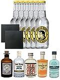 Gin Probierset Monkey, Duke,Siegfried, Saffron, London Blue + 6 x Thomas Henry Tonic Water 0,2 Liter + 2 Schieferuntersetzer