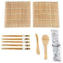 Kit per preparare il sushi, 9 pezzi/set Kit per preparare il sushi di bambù Include 2 tappetini 5 bastoncini 1 paddle 1 Sushi Blade Tappetini e utensili da sushi in bambù