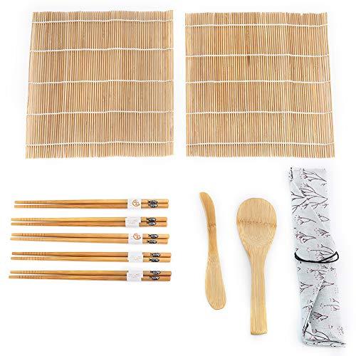 Juego de 9 piezas de bambú para hacer sushi, incluye 2 alfombrillas de rodillo, 5 palillos, 1 pala, 1 cuchilla de sushi para principiantes profesionales
