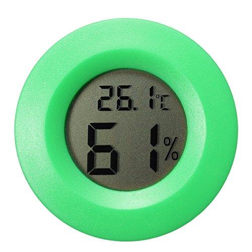 GuDoQi Mini Drahtlose Runde Geformte Digitale LCD Temperaturfeuchtigkeit Messinstrument Für Innenim Freienhaus Reptil Haustier Thermometer Grün