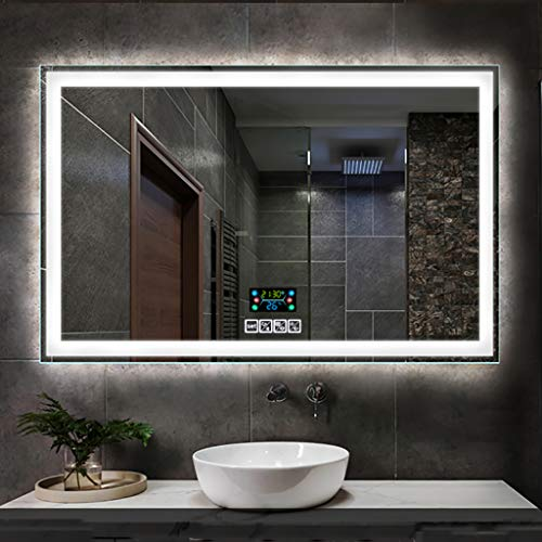 Espejo de baño de Audio Bluetooth Iluminado de Forma Rectangular con Interruptor...