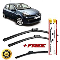 Set of 3 flat blade wiper blades for RENAUL T CLlO III 2005 rear wiper FREE