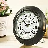 DSJ Tischuhr Einfacher Garten Retro Uhr Europäische Kunst Uhr Wohnzimmer Antik Metall Tischuhr Uhr Kreative Uhr Quarzuhr,AAA