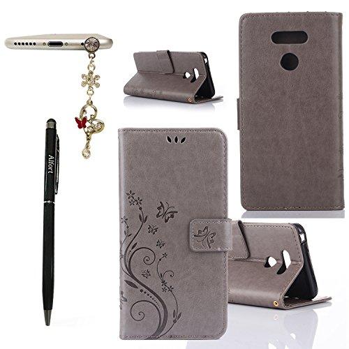 Alfort Funda LG G6, 3 en 1 Carcasa LG G6 Cover Tallado Mariposa Case la Cubierta del Cuero Moda Cascara con Soporte Plegable y Ranura de Tarjeta (Gris)