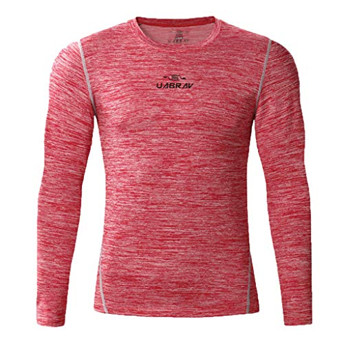 DNOQN Langarmshirt Herren Slim Fit Sport Shirt Neues Fitnesstraining Kleidung Langarm Bluse Outdoor Sport Bluse Top Rosa XL -