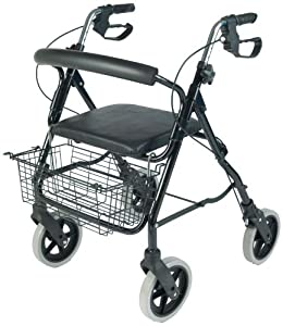 NRS MobilityCare Aluminium Four Wheeled Rollator M39634 Walking Aid - Seat & Shopping Basket (Eligible for VAT relief in the UK)