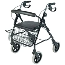 NRS MobilityCare Aluminium Four Wheeled Rollator M39634 Walking Aid - Seat and Shopping Basket (Eligible for VAT Relief in The UK)
