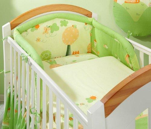 5 Piece Pc BABY BEDDING SET COT BED QUILT/DUVET PILLOW CASE COVER 120x90 135x100 (To fit cot 140x70, Green Snails)